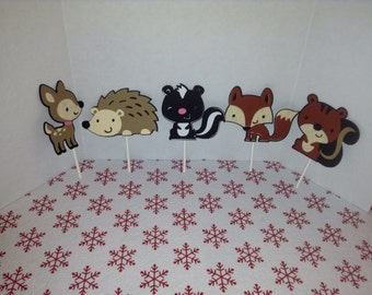 Cute Woodland Animal Party Cupcake Toppers