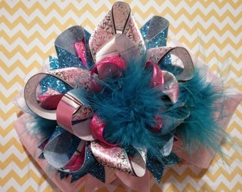 Pink Brown Turquoise Blue Glitter Over-The-Top Hair Bow Hairbow
