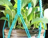 CROWNE ROYALE - Handmade Macrame Plant Hanger Holder with Wood Beads - 4mm Braided Poly Cord in TURQUOISE Blue