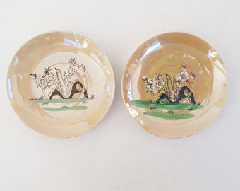 China from Occupied Japan: Two demitasse lusterware saucers, sweet Made in Occupied Japan collectibles