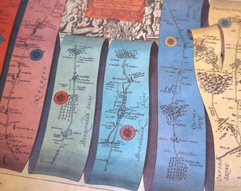 Vintage Map Reproduction Road Map from London to Oxford by John Ogilby, 1675