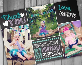 Thank You Card 1st Birthday First Birthday Girl Birthday Thank You Photo Card Girl 1st Girl First Thankyou Card