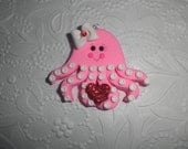 Polymer Clay Valentine Octopus - Cute Super Chunky Octopus Pendant/Valentine Ornament/Gift