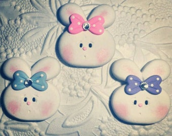 Polymer Clay Chubby Cheeks Bunny Bow Center.Pin,Magnet (Listing For One Bunny)