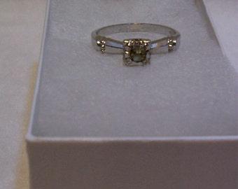 Ring, Sterling Ring with CZ Size 8