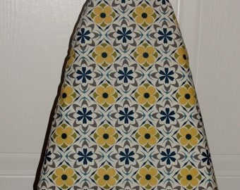 Ironing Board Cover Diamond Flower Blue Saffron Yellow Grey and Off White