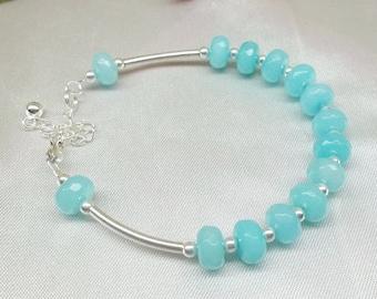 Genuine Aquamarine Bracelet Blue Bracelet Natural Gemstone Bracelet Sterling Silver Bracelet Aqua Blue Bracelet Adjustable BuyAny3+1Free