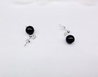 Simple Black Onyx Earrings Onyx Dangle Earrings Lever Back Earrings Ball Post Earrings Sterling Silver Earrings Silver Sterling Buy3+1Free