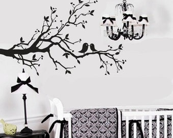 Silhouette decal, branch decal, birds on branch decal, bird branch decal, vinyl wall branch, vinyl wall decal, black branch decal,