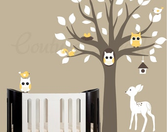 Childrens wall decals, Walldecals, Vinyl wall decal, Nursery tree decals, Vinyl wall decals, Nursery wall decor, Twin Decals,