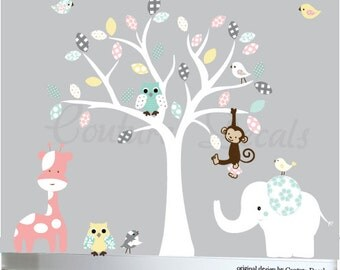 Nursery wall decal childrens owl tree decal jungle