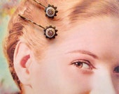 Floral Pale Pink and Brass Color Metal Hair Pins- Vintage and New Materials