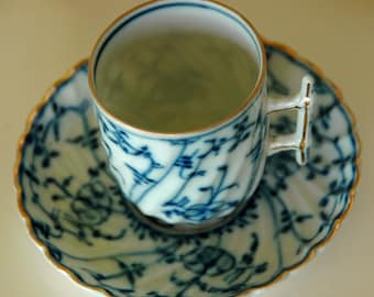 Antique DEMITASSE FLOW BLUE on White (After Dinner) Cup and Saucer by Sontag & Sons  (Royal Bayreuth) Late 19th Century, Exc Condition - !