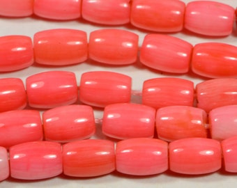 Coral 9.4 to 10.3x7mm Coral Beads Gemstone Beads Jewelry Making Supplies Barrel Coral