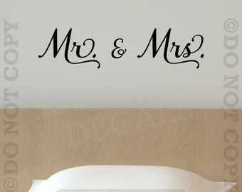 Mr. and Mrs. Vinyl Wall Decal Sticker Quote Family Bedroom Husband Wife Decor