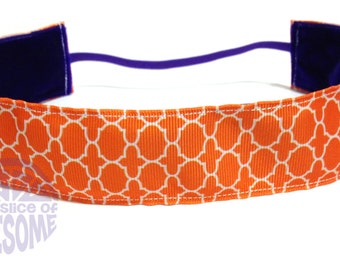 NOODLE HUGGER Non slip ribbon headband - orange quatrefoil - 1.5 inch (running, working out, everyday: women and girls)