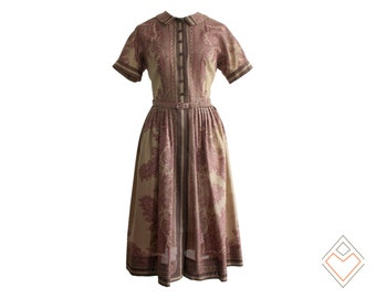 1960s Marsala filigree pattern shirtwaist vintage dress with fit and flare skirt and peter pan collar / L'Aiglon size Medium - large