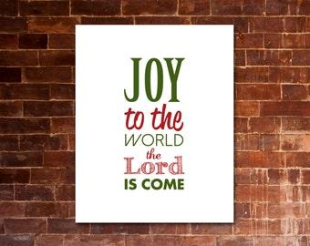JOY To The WORLD Christmas Carol Artwork | Printable Lyrics | DIY | Red & Green