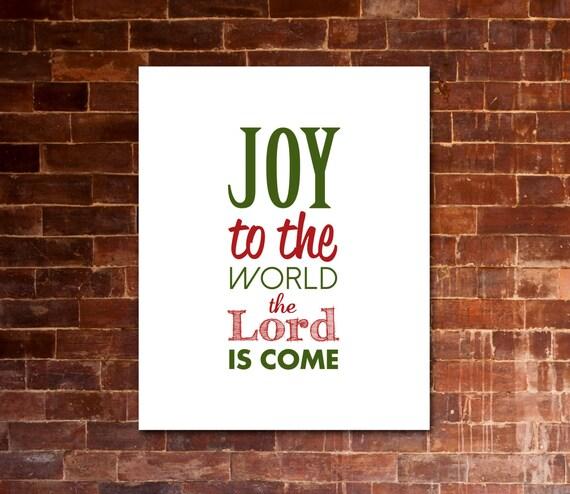 Items similar to JOY To The WORLD Christmas Carol Artwork | Printable Lyrics | DIY | Red & Green ...