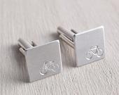 Silver Bike Cufflinks - Minimalist Mens Jewelry Cuff links - Athlete and Marathon Gifts - Mini Square Cufflinks