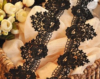 2 Yards Black Venise Lace Trim, Crochet Black Embroidery Lace Fabric Trim