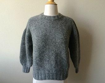 Vintage Hand Knit Grey Sweater