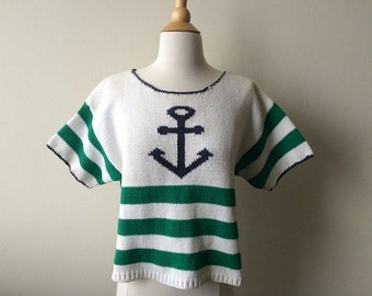 Vintage Anchor Cropped Sweater