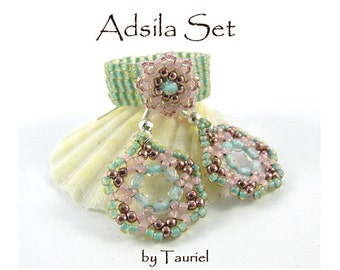 Adsila set, earrings and ring beadwoven tutorial