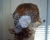 White Rose Birdcage Bow Bridal Hair Clip, Rose and Crystal Birdcage Comb, Birdcage Hair Clip