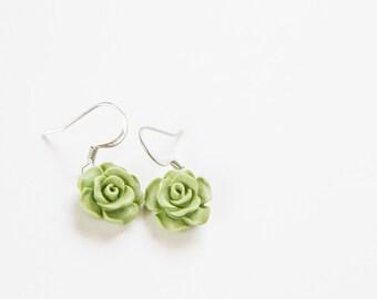 Green FLower Drop Earrings