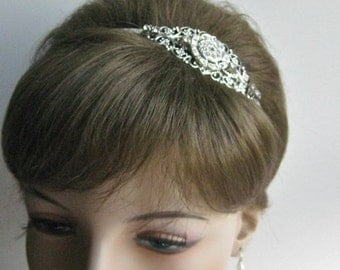 Silver and Crystal Bridal Headpiece, Silver headband,  Bridal tiara, wedding hair accessory, silver crystal bridal headband