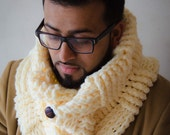 savvystuff basketweave shawl-collar cowl in buttercream - for him or her