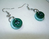 Dangle Button EARRINGS - Emerald Green and Aqua Blue dangle earrings -  BUTTON JEWELRY