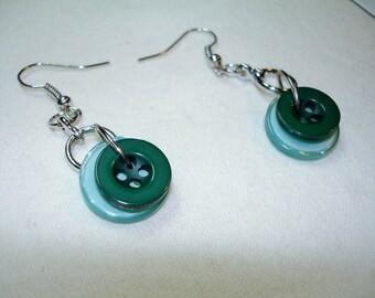 Dangle Button EARRINGS - Emerald Green and Aqua Blue dangle earrings -  BUTTON JEWELRY