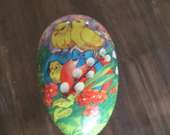 Large Vintage Paper Mache Easter Egg Made In WESTERN GERMANY With Baby Chicks