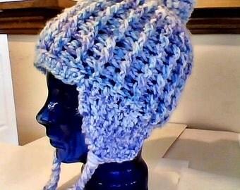 Purple Lavender Blue Multi Cable Snow Knit Sock Cap Toque tuque  Pom Pom Warm Winter HAT w/ Earflaps  Braids Tassles Medium Large Size Head