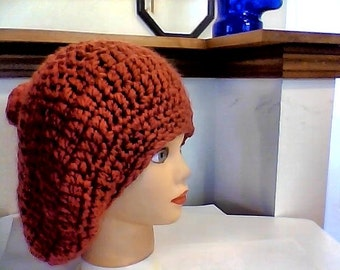 STEAL Dusty Rose Aster Large Tam Slouchy Snow Day Beret with Brushed PomPom MLXL Thick SOFT Gorgeous Ladies Salmon Pink Winter Hat
