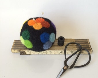Wool Pin Cushion, Ultimate felted wool pincushion for quilters and sewers