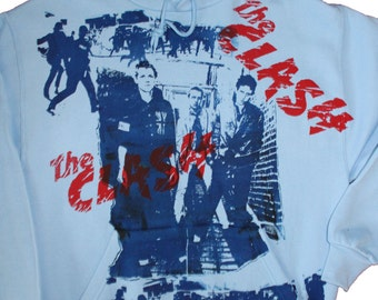 "The CLASH Hoodie - Punk Band - Brixton Riot Print - Hooded Jumper - Blue Hood Sweater - M 38""-"