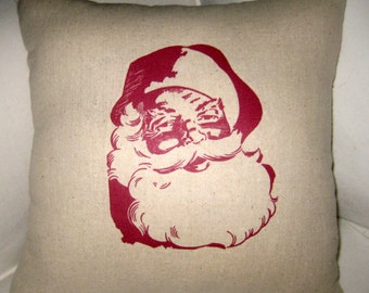 Christmas Pillow, Santa Pillow, French Country Decor, Holiday Home Decor, St. Nick, Farmhouse, Red Santa Throw Pillow, Cushion, Winter