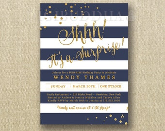 Navy & Gold Surprise Birthday Party Invitations Gold Glitter Confetti Navy White Stripes FREE PRIORITY SHIPPING or DiY Printable - Wendy