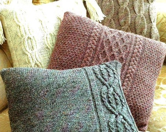 PDF Knitting Pattern for  Aran Cabled Cushions in 4 Styles   - Instant Download
