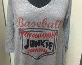 Microburn ladies v-neck raglan baseball junkie t-shirt
