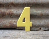 Metal Number Sign Vintage Number 4 Sign Four Sign #4 vtg Small Size 5 1/2 Inch Yellow Vtg Marquee Sign Wall Art Alphabet Old Sign Number