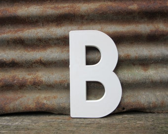 Vintage Marquee Sign Large 10 Inch Letter B Sign White Simple Font Plastic Letter Sign Display Alphabet Spelling vtg Letters Wall Art Retro