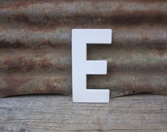 Vintage Letter Sign 8 Inch Letter E Sign White Simple Font Plastic Letter Sign Display Marquee Alphabet vtg Letters Wall Art Pop Art Retro
