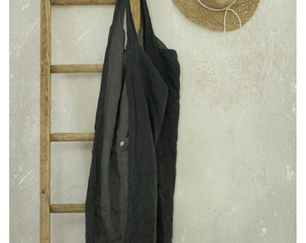 REVERSIBLE  LINEN PINAFORE.  cross over apron