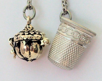 Acorn and Thimble Couples Stainless Steel Necklaces Peter Pan & Wendy Hidden Kisses,  Men, Women, Sweetheart, Lover, Sister, Best Friend