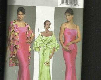 BUTTERICK 4733 Elegant Evening Dress with Empire Waist & Kimono Sleeve Flounced Jacket Sizes 16 to 22 UNCUT