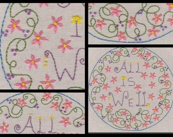 All Is Well..No1 Hand Embroidery Pattern by PDF